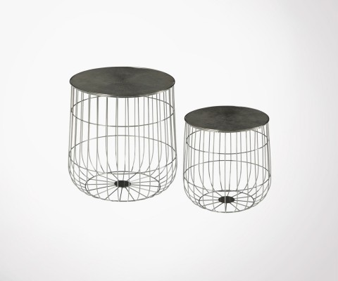 QUIZEN metal nesting tables removable top