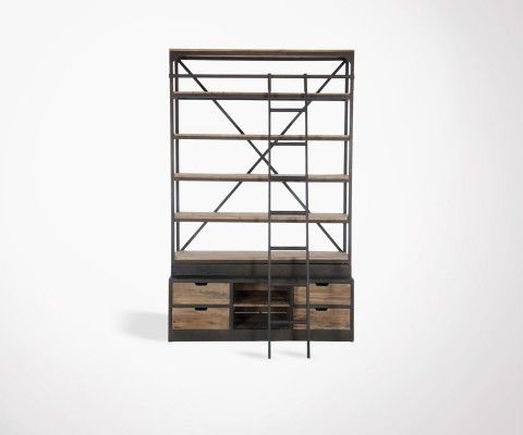 Industrial bookcase with ladder SACEL - 160 cm