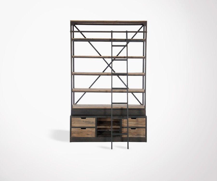 Bibliothèque avec échelle style industriel SACEL - 160 cm