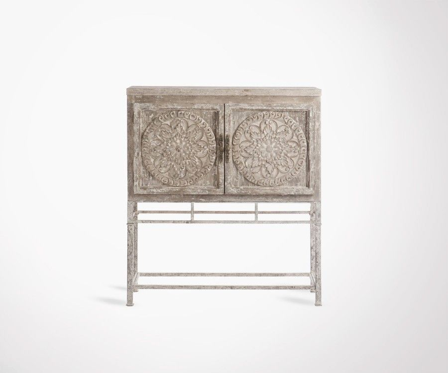 Armoire bois 2 portes style bohemian SARIAN - 115 cm