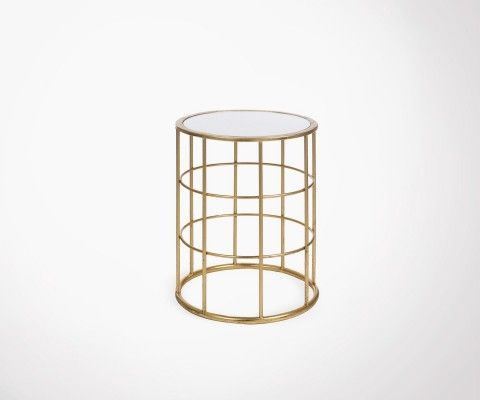 Circular metal art deco side table SATURNE