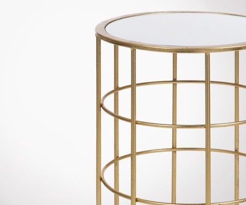 Table d'appoint circulaire métal doré style art déco SATURNE