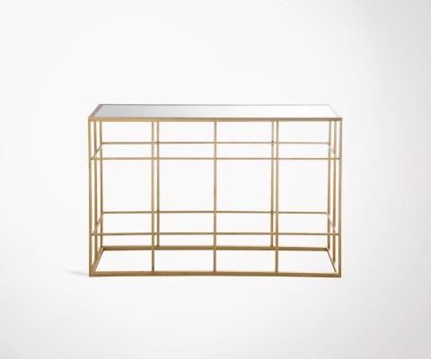 Large gold metal console art deco style SATURNE - 120 cm
