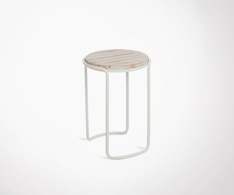 White metal side table wood top SEALEN