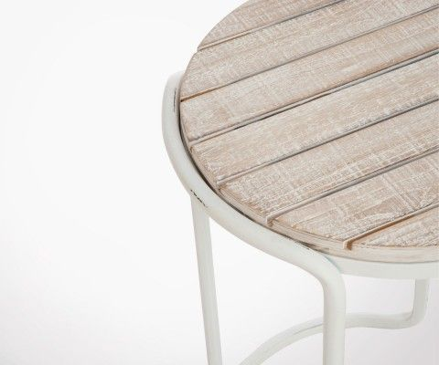 Table d'appoint métal blanc plateau bois cérusé SEALEN