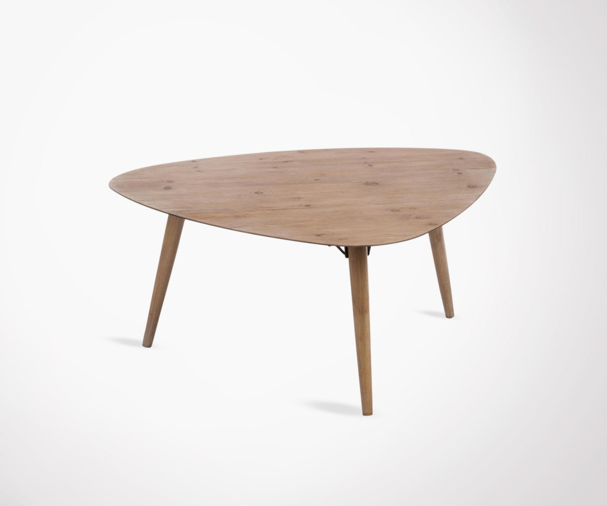 Grande table basse scandinave 100cm bois de sapin marque for Table triangulaire scandinave