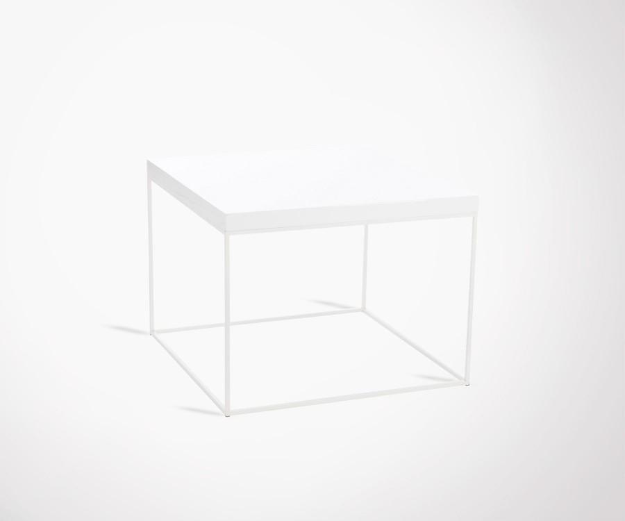 Grande table basse carré bois métal SIMPLY - 80 cm