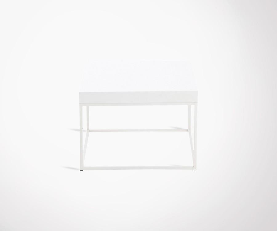 Table basse carré plateau bois pied métal SIMPLY - 50 cm