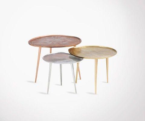 Trio tables basses métal SYLVESTER - 48 cm