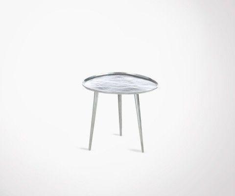 Petite table basse métal argenté SYLVESTER - 48 cm