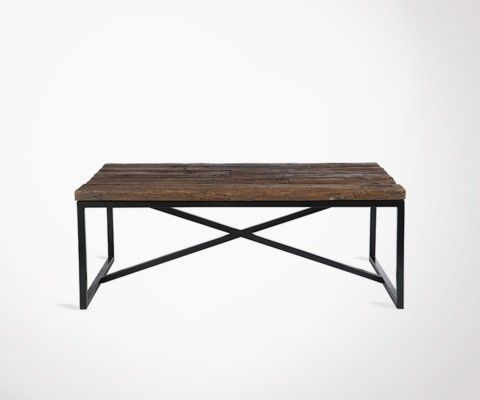 TRUST large metal rustic wooden top coffee table - 120 cm