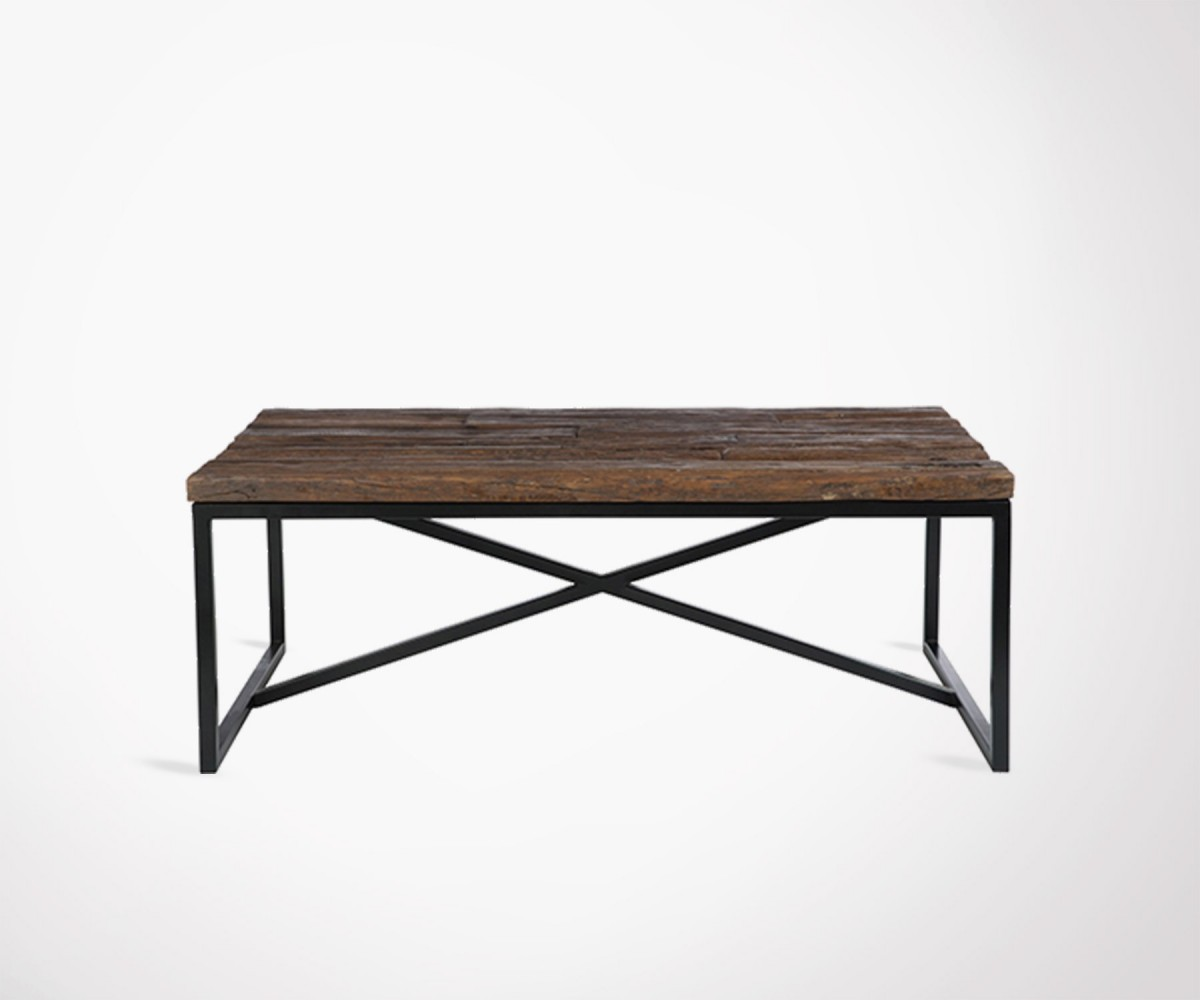 large rectangulaire industrial coffee table solid recycled. Black Bedroom Furniture Sets. Home Design Ideas