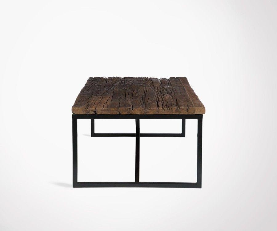 Grande table basse rectangulaire 120cm finitions rustique - Grande table basse bois ...