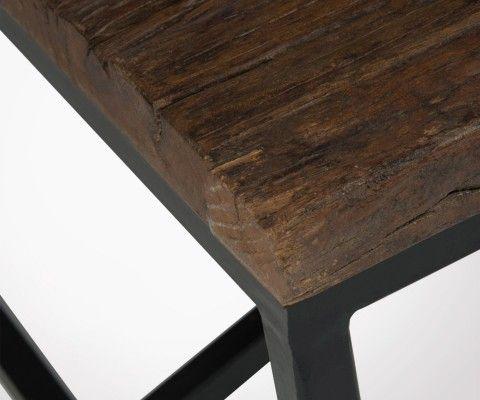 Grande table basse style rustique métal bois TRUST - 120 cm