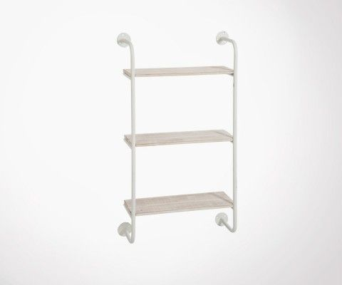 Wall shelf 3 planks white metal and wood TUBO