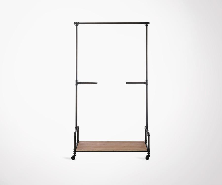 Portemanteau style industriel métal bois VELAND - 185 cm