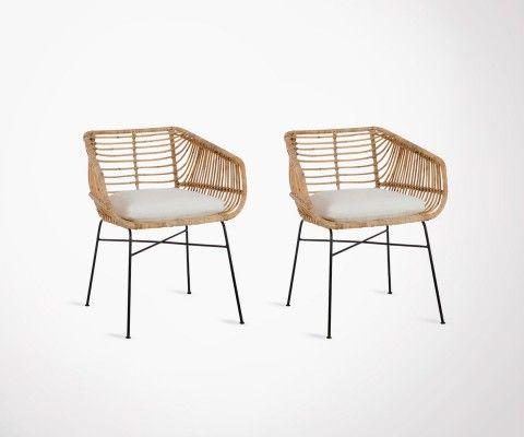 Lot 2 chaises d'extérieur rotin naturel avec coussin VERANDA