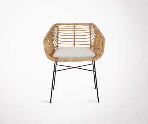 Lot 2 chaises extérieures rotin naturel avec coussin VERANDA