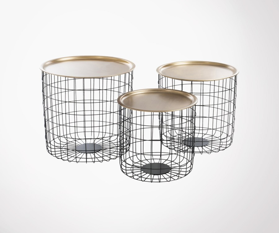 tables gigognes design plateau m tal dor pied m tal noir. Black Bedroom Furniture Sets. Home Design Ideas
