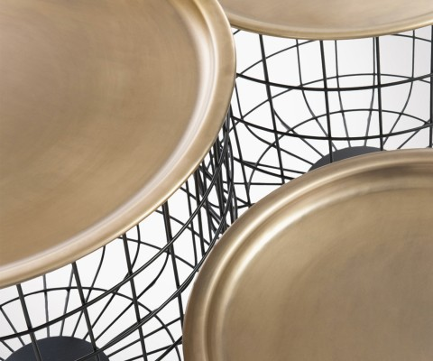 Set 3 tables gigognes paniers métal et plateau doré VIX