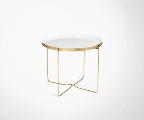 Table basse ronde laqué blanc et métal doré VYF