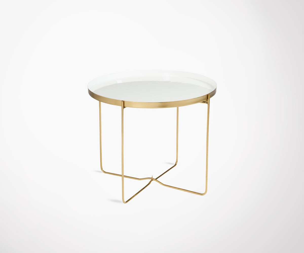design coffee table made from gold metal and white lacquered top. Black Bedroom Furniture Sets. Home Design Ideas
