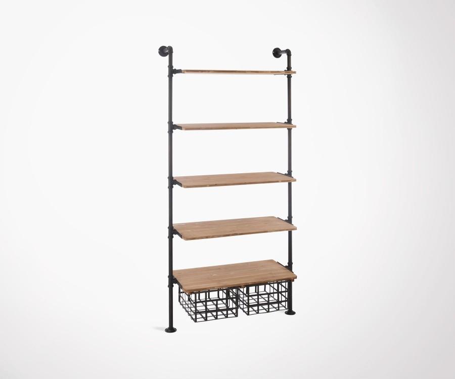 tag re murale avec tablettes en pin et tiroirs et structure m tal. Black Bedroom Furniture Sets. Home Design Ideas