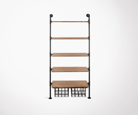 Wall shelf with drawers industrial style WAQS - 174 cm