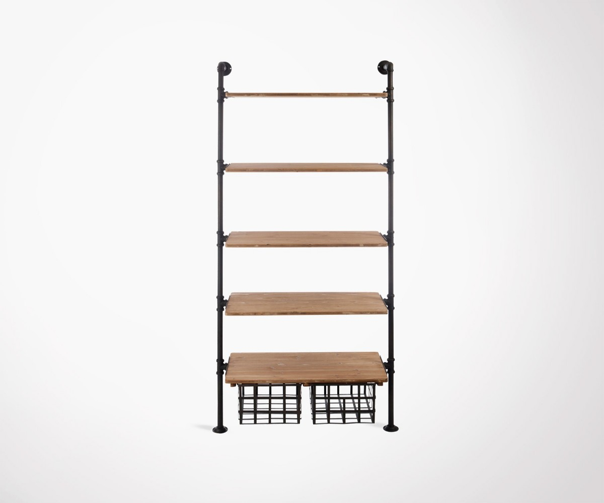 Industrial wall design shelf with wooden and metal finishes by J-line