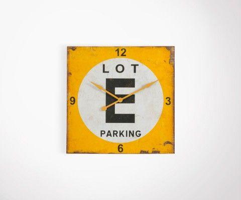 Horloge usine carré métal jaune style industriel YELLOW - 80 cm