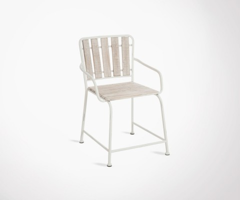 White metal and wood chair YOLANDE