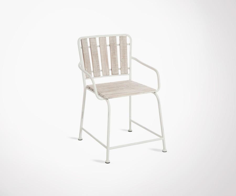 Chaise métal blanc bois blanc cérusé YOLANDE