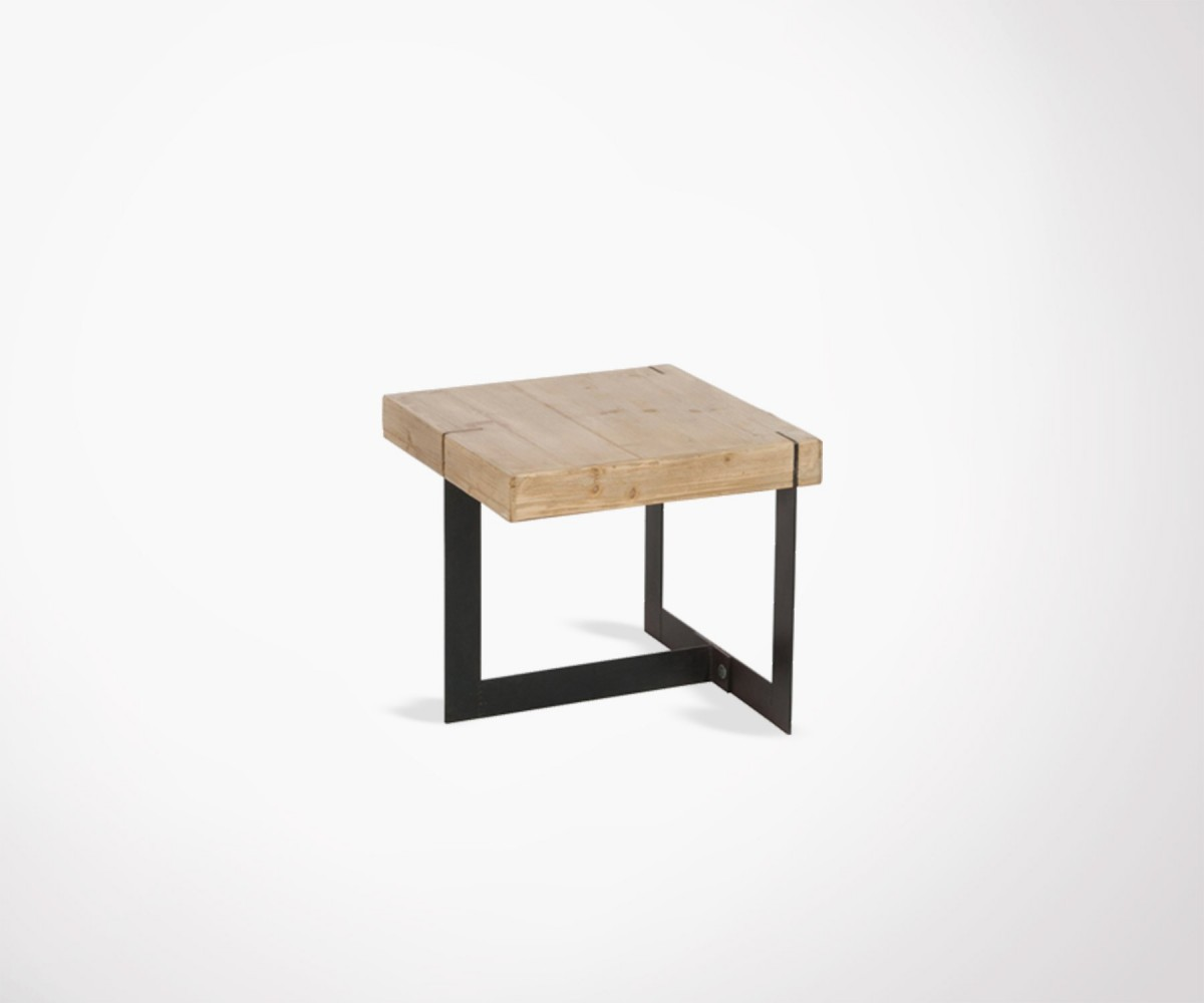 petite table basse industrielle bois massif et m tal marque j line. Black Bedroom Furniture Sets. Home Design Ideas