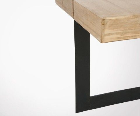 Petite table basse bois massif et métal CORNYCO