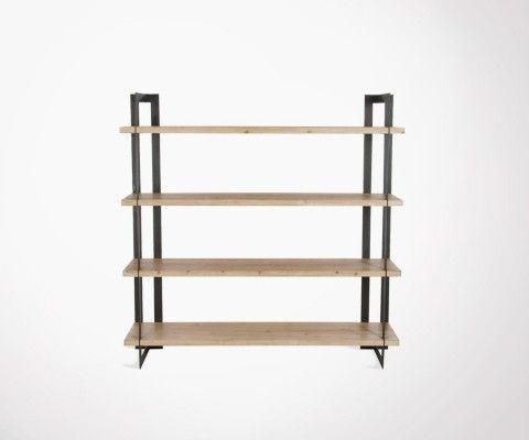 Étagère 4 planches bois massif et métal CORNYCO