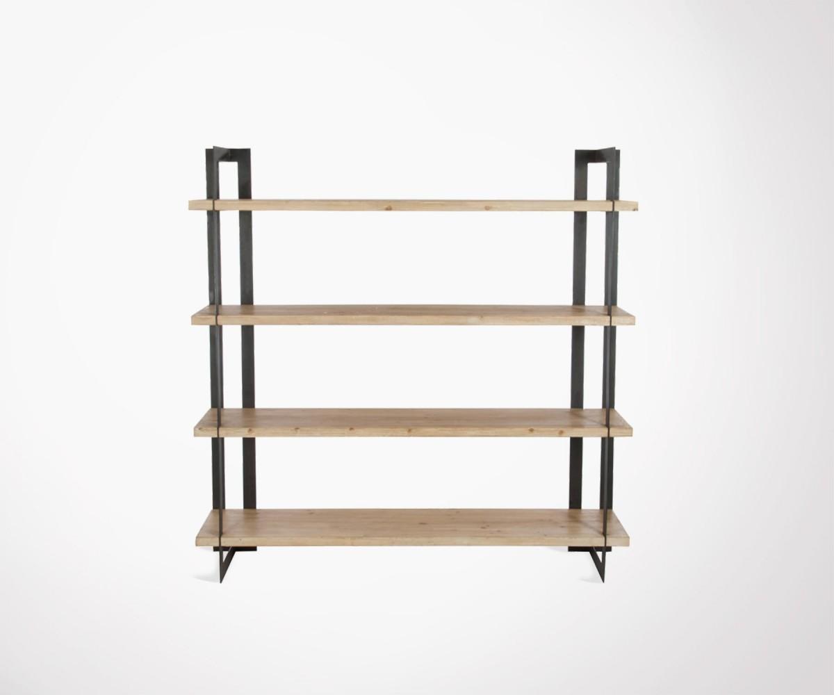 tag re 4 tages bois massif et metal noir marque j line. Black Bedroom Furniture Sets. Home Design Ideas