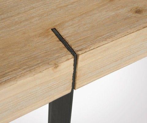 Console rectangulaire bois massif et métal CORNYCO