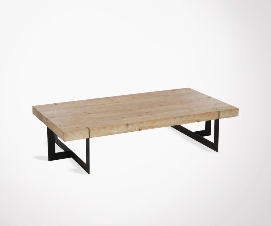 grande table basse 150cm bois massif et m tal noir style industriel. Black Bedroom Furniture Sets. Home Design Ideas