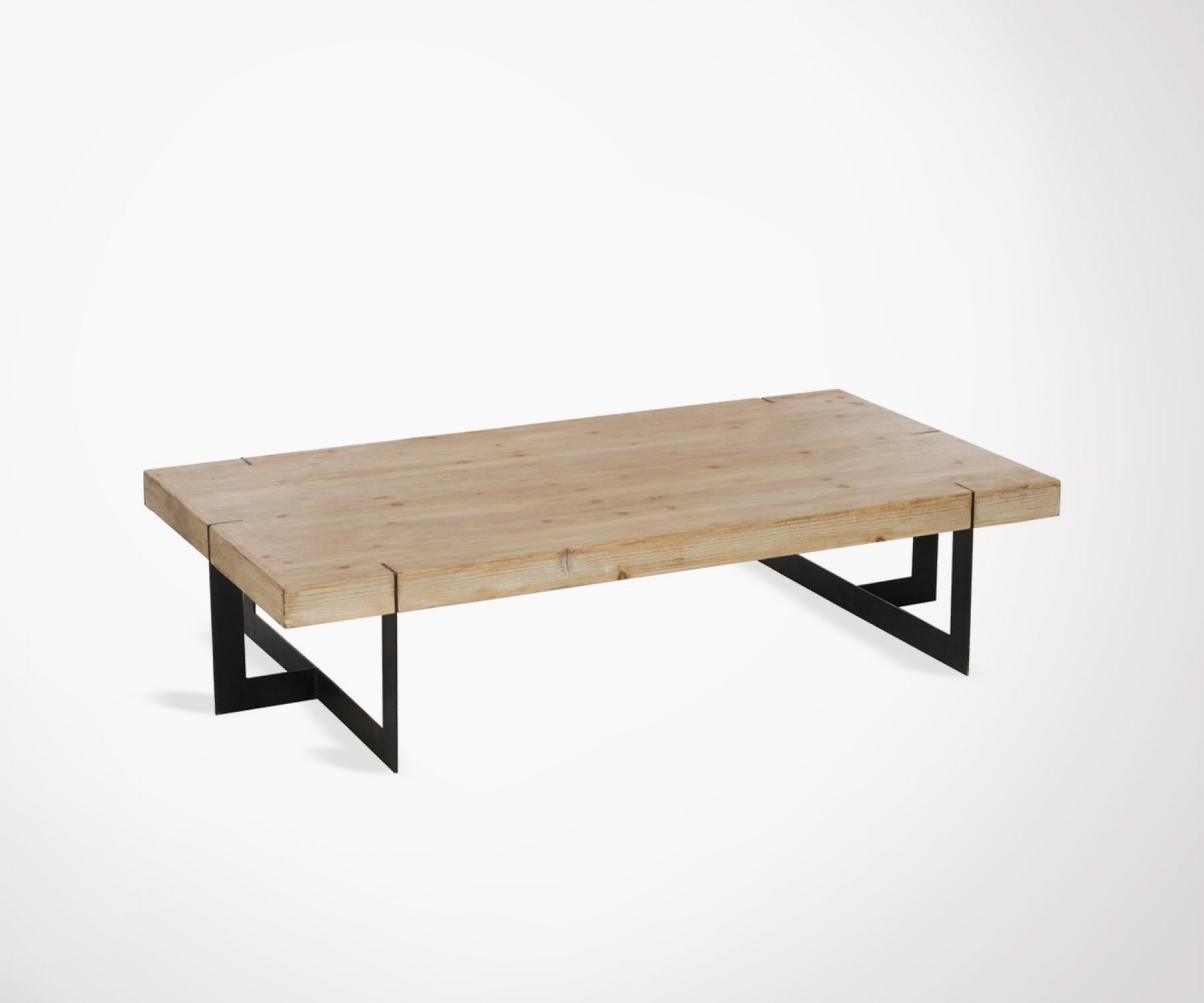 grande table basse 150cm bois massif et m tal noir style. Black Bedroom Furniture Sets. Home Design Ideas