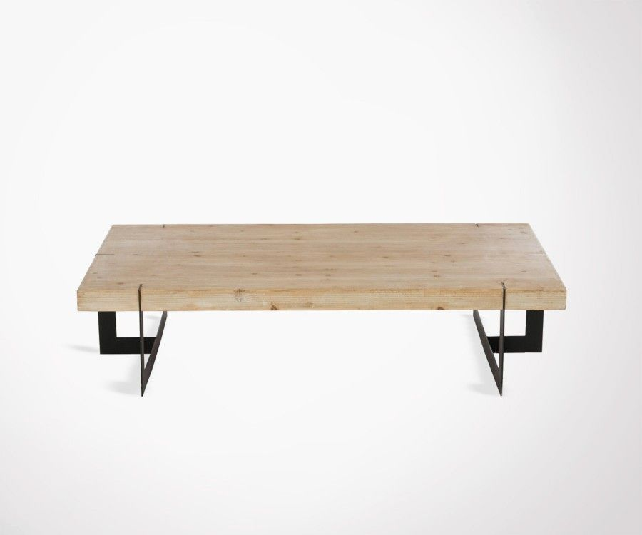 Large coffee table made from solid wood and black metal. Industrial