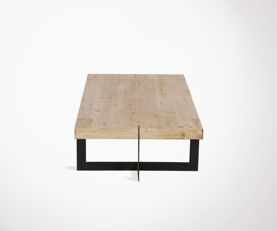Grande table basse 150cm bois massif et m tal noir style for Grande table design