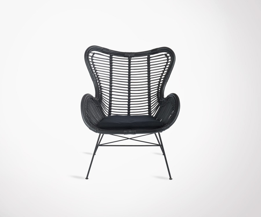 Black rattan design lounge chair made by J Line ethnic look