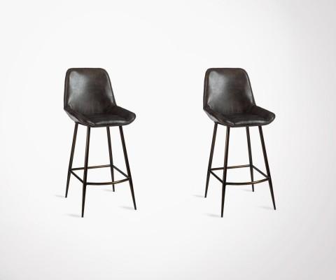 Lot 2 chaises de bar cuir marron foncé DEUCE
