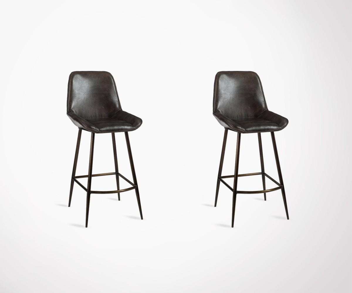 chaise de bar industrielle cuir marron fonc id ale bar. Black Bedroom Furniture Sets. Home Design Ideas