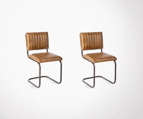 2 chaises luges cuir cognac pied métal SURN