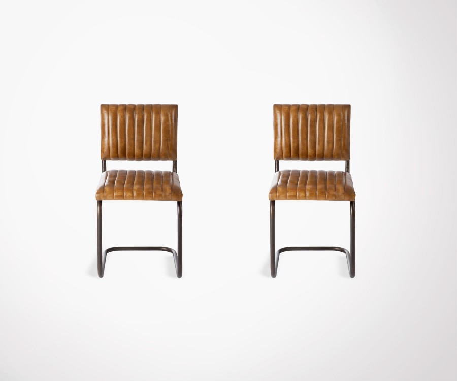 2 chaises modernes cuir cognac pied métal SURN