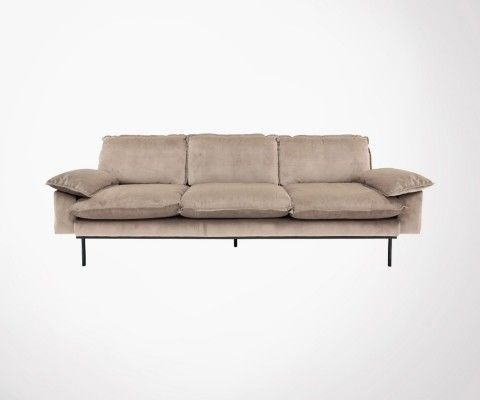 Canapé design tissu velour AFFAL - 3 places