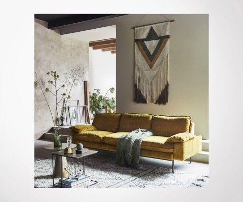 Canapé design tissu velour AFFAL - 4 places