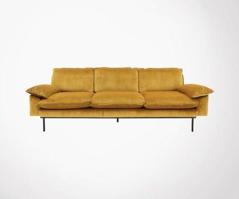 4 seater retro velvet sofa AFFAL - color of your choice