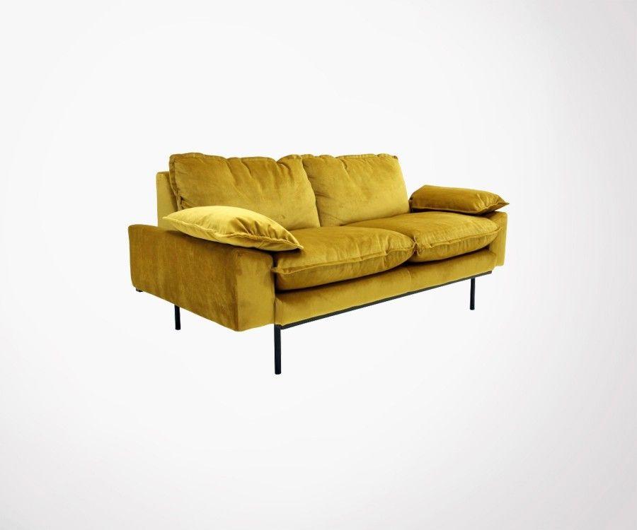 Canapé design tissu velour AFFAL - 2 places